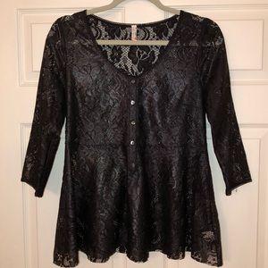 Free People black lace shirt